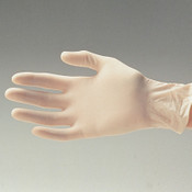 White Vinyl Glove on a hand