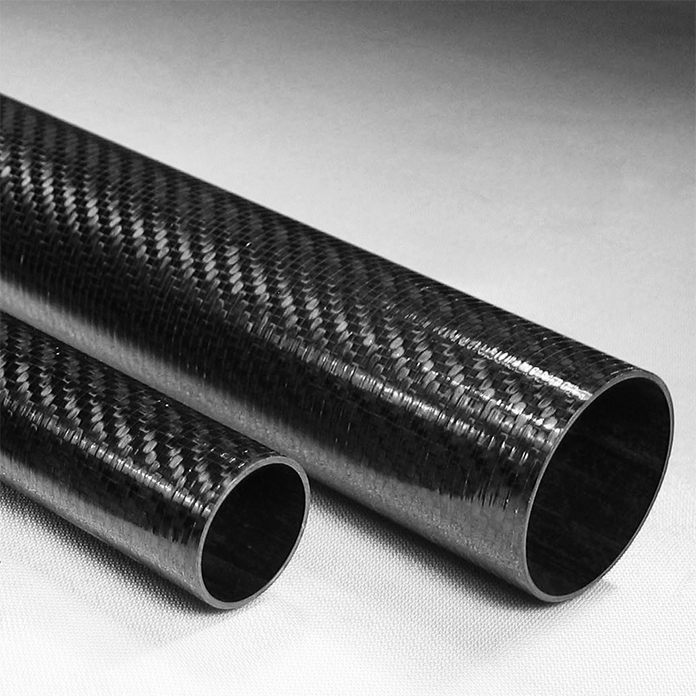 Various sizes of Carbon Fiber Twill Roll Wrapped Tubing