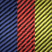 Red Yellow Blue Carbon Fiber/Aramid 2x2 Twill Weave side by side