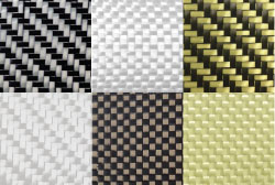 Multiple examples of woven composite fabric including carbon fiber, fiberglass and aramid